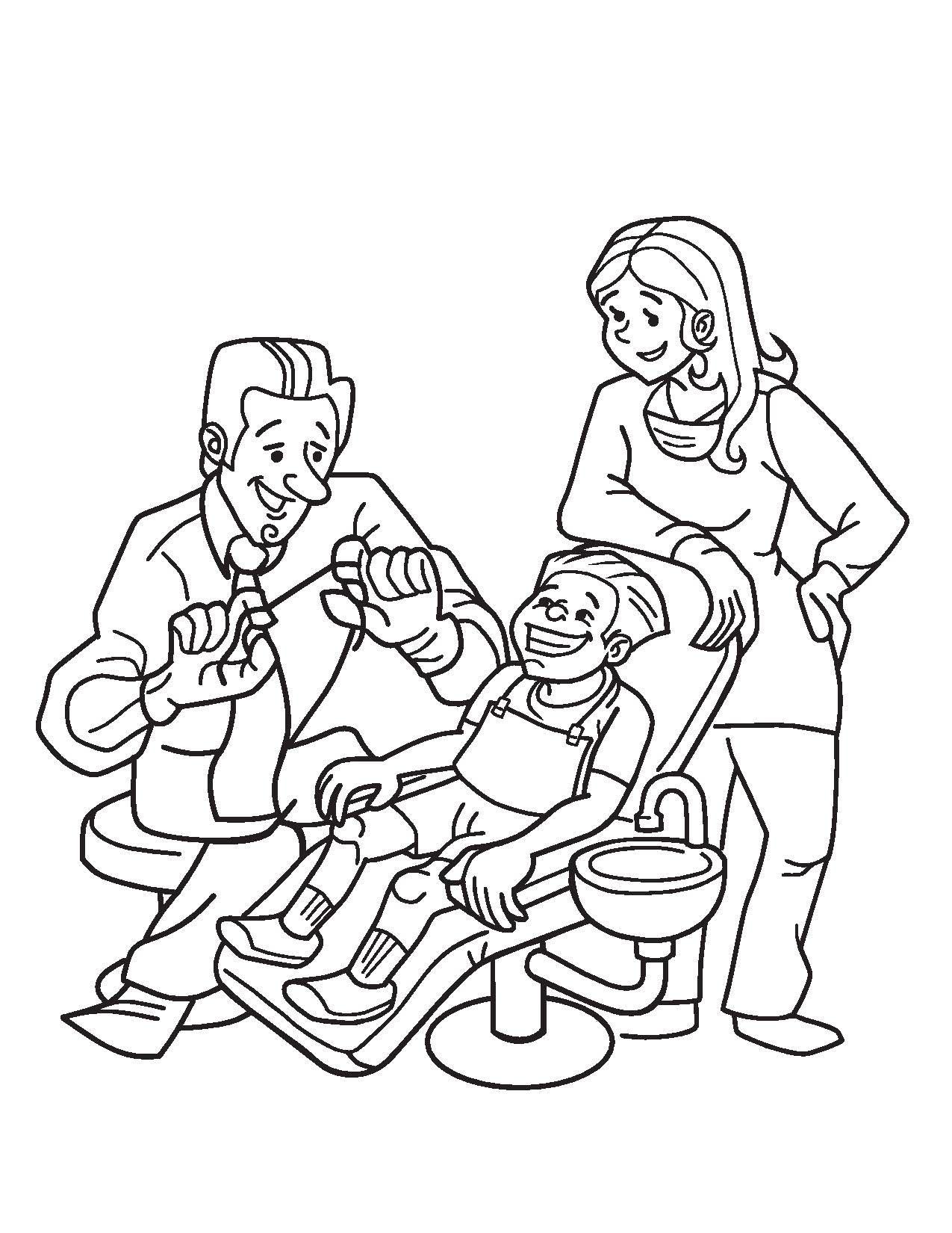 Desenho De Menino Tratando De Dentes Para Colorir