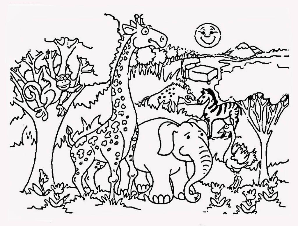 Desenhos Para Colorir De Animais Do Safari