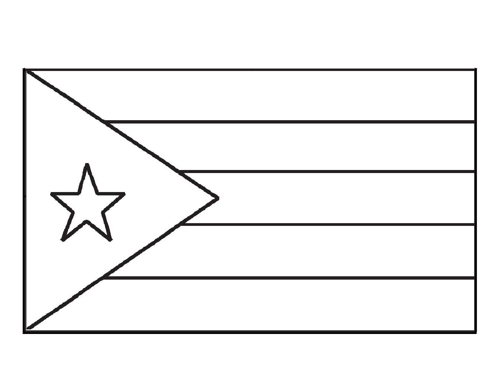 Cuba Flag Coloring Page