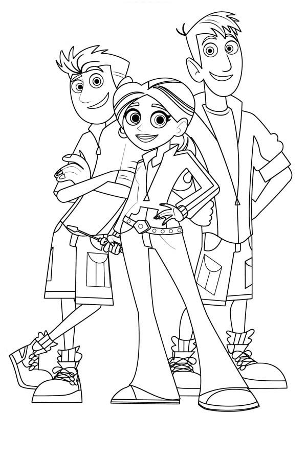 Desenho De Amigos De Aventuras Com Os Kratts Para Colorir