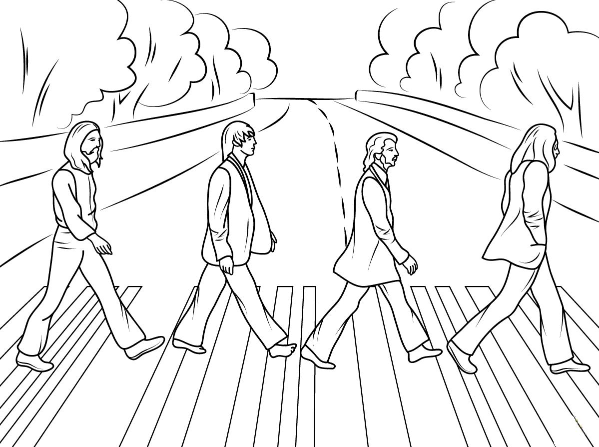 Desenho De The Beatles Na Abbey Road Para Colorir