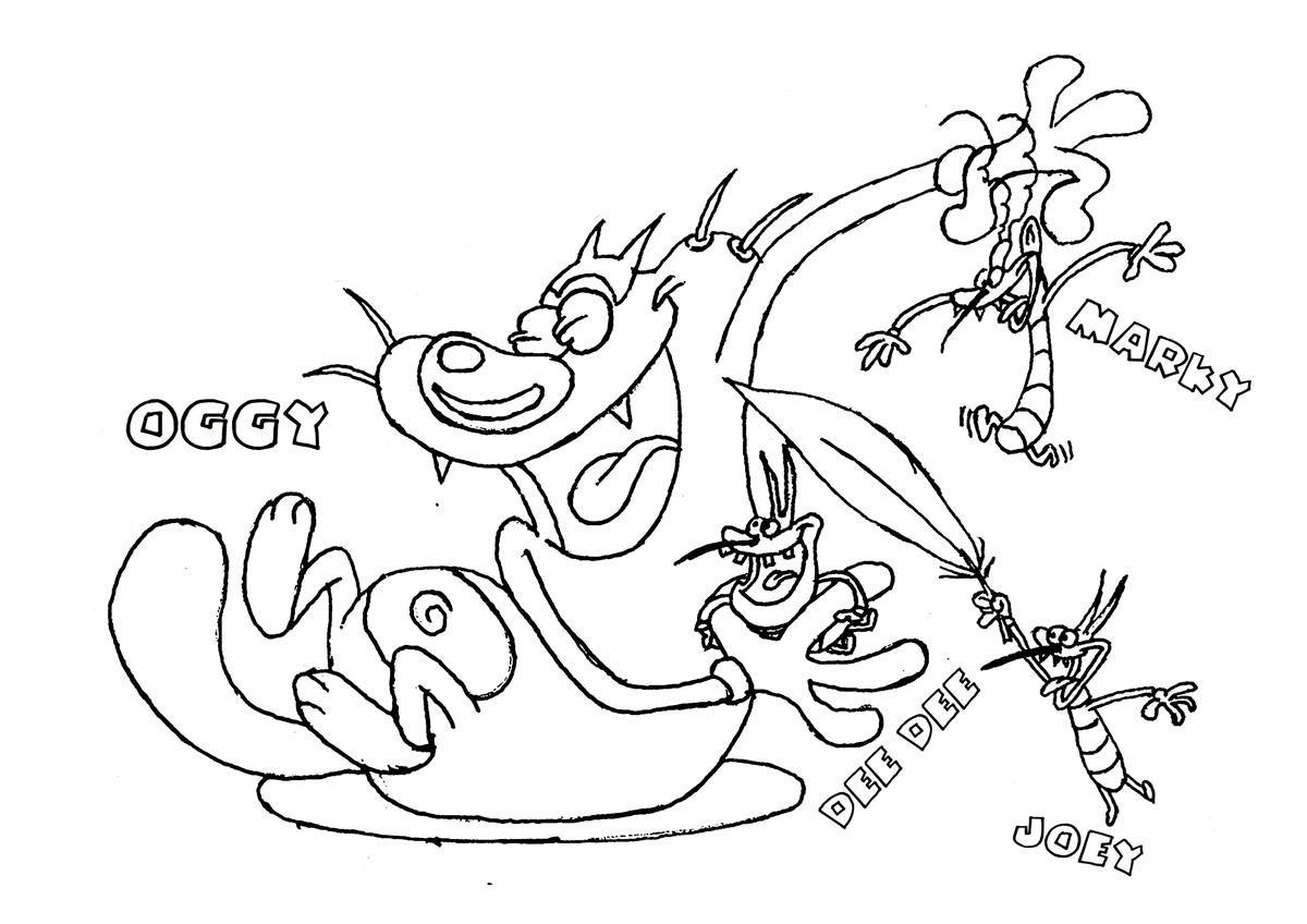 Desenho De Personagens De Oggy E As Baratas Tontas Para
