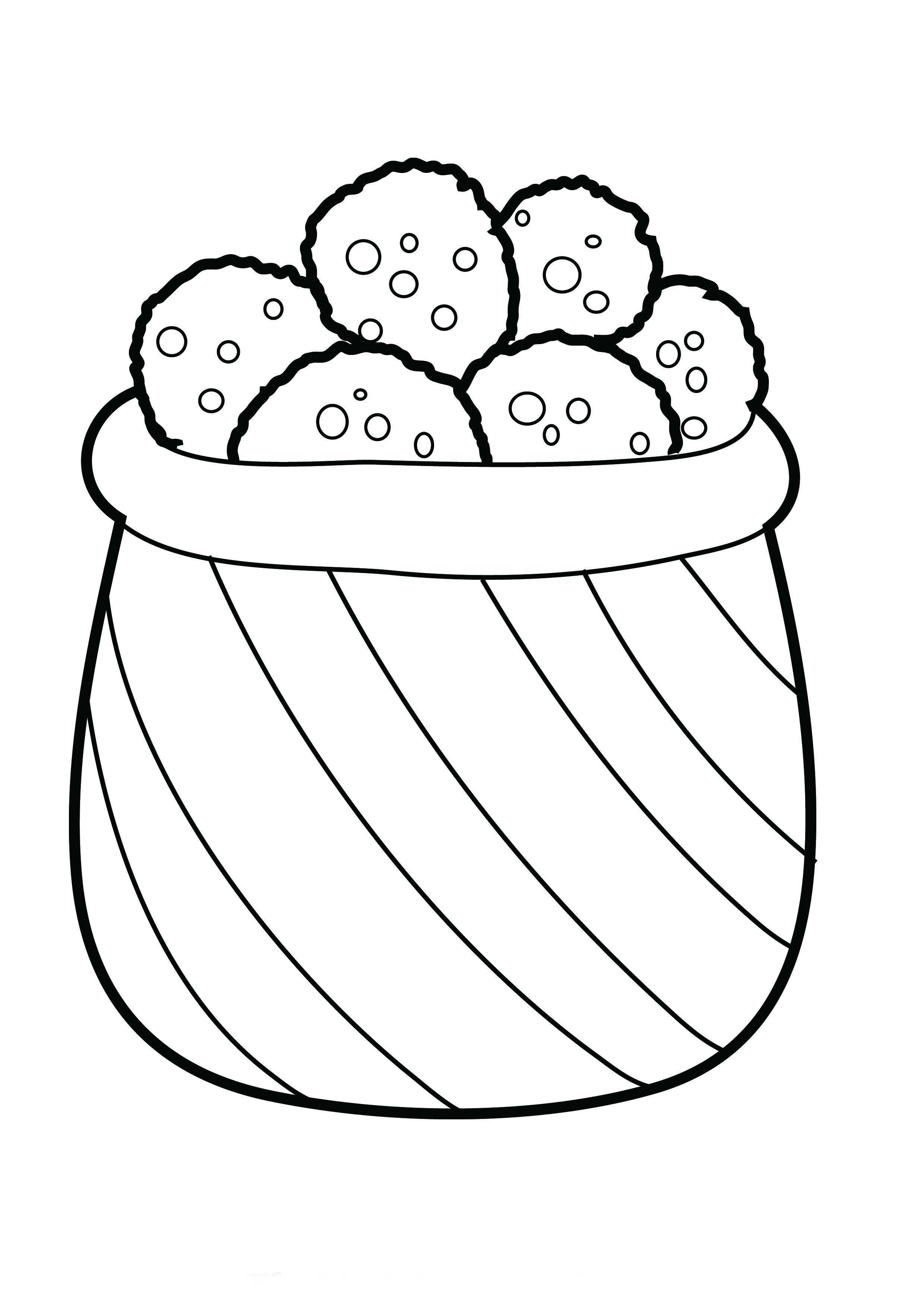 Desenho De Pote Cheio De Biscoitos Para Colorir