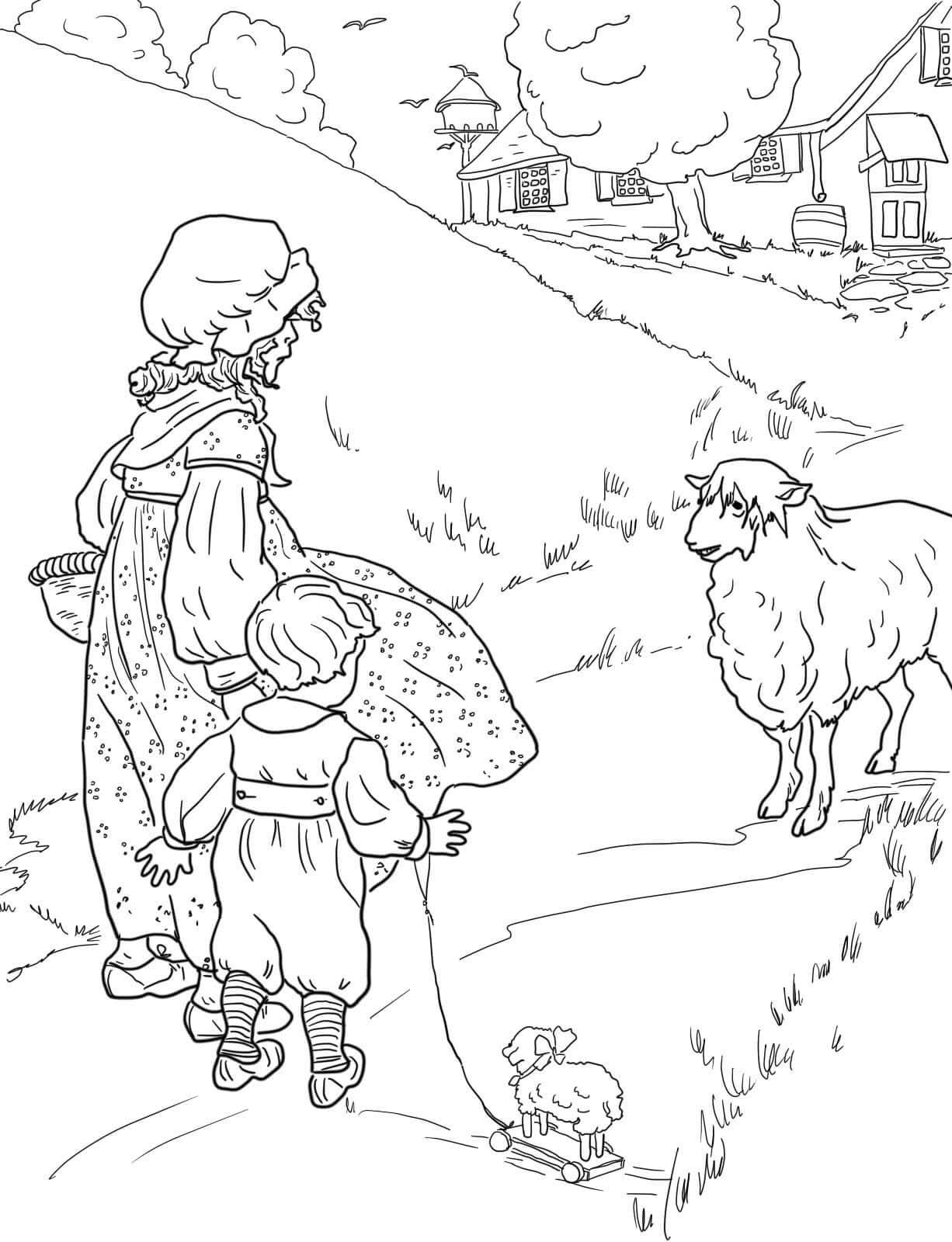 Desenho De Criancas E Ovelha Para Colorir