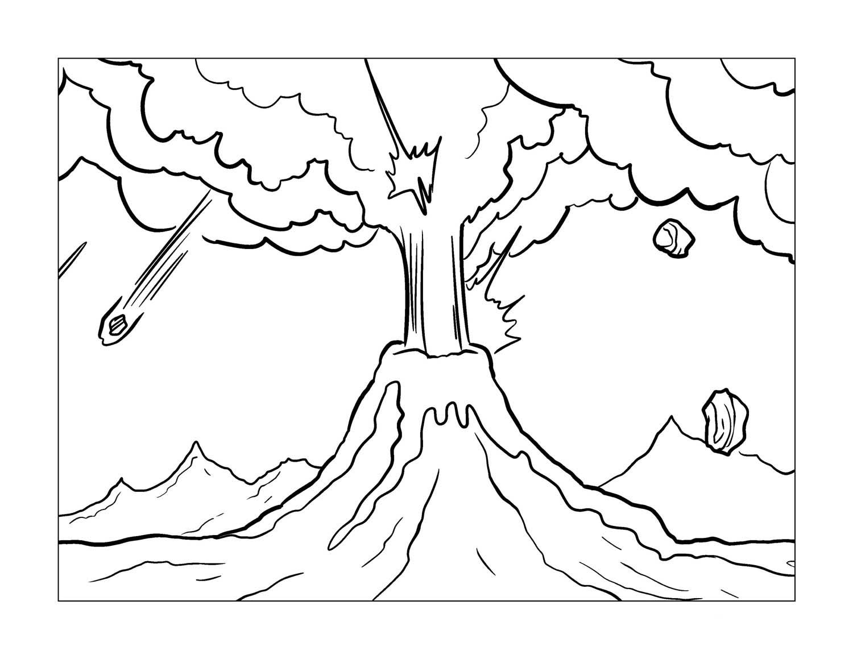 Desenho De Lavas Do Vulcao Em Chamas Para Colorir