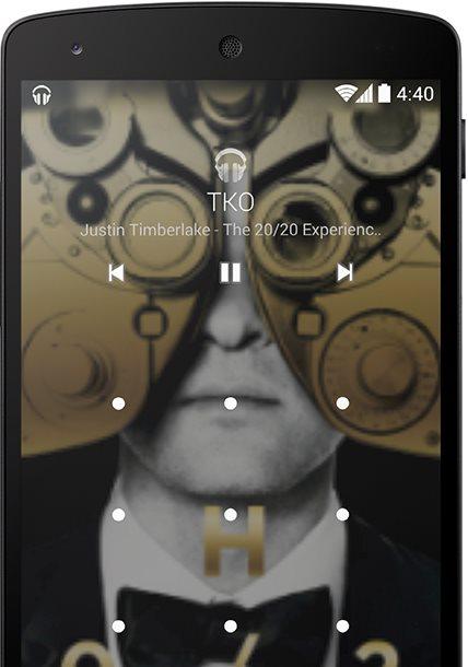 Enquanto você está ouvindo alguma canção no player oficial você verá uma imagem em tela cheia atrás da tela de bloqueio da música que está tocando.