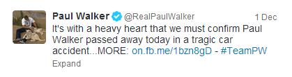 A trágica morte de Paul Walker foi o segundo tweet mais retuitado em 2013.