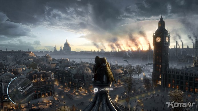"Assassin's Creed Victory mostra Londres do século XIX com o ""Big Ben"" ao fundo."