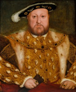This portrait of Henry VIII is an early derivation of Holbein's original portrait of the King, painted in 1537 on the wall of the Privy Chamber at Whitehall (see RCIN 405750). It was probably painted later in the sixteenth century. Royal Collection Trust/� Her Majesty Queen Elizabeth II 2014