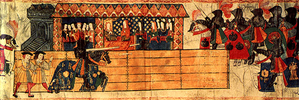Catalina de Aragon watching Henry VIII of England joust, College of Arms, early 16th century. Catherine of Aragon was the first wife of King Henry VIII. of England.