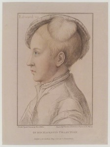 King Edward VI by Francesco Bartolozzi, published by John Chamberlaine, after Hans Holbein the Younger stipple engraving printed in colours, published 1 May 1793 13 1/2 in. x 10 1/8 in. (342 mm x 256 mm) paper size Given by Sir Herbert Henry Raphael, 1st Bt, 1916 Reference Collection NPG D18950