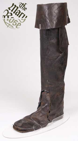 This leather thigh boot was found in the hold of the Mary Rose. It appears to have been lined, with a leather top lining and at least two different fabrics, and still has its bootstraps attached, allowing it to be pulled on with ease.