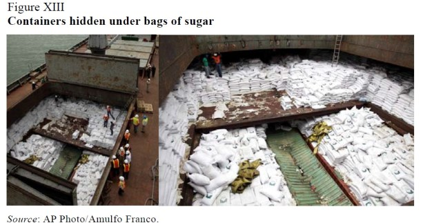 Containers escondidos por sacos de açúcar