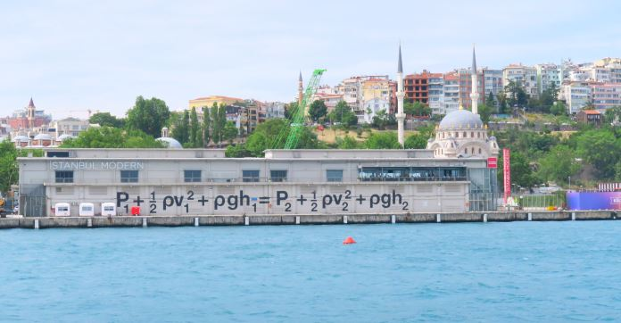 """Das Istanbul Modern Museum: Weißes Gebäude aus Beton mit der Aufschrift """"Istanbul Modern"""" und einer großen Gleichung in schwarzen Buchstaben."""