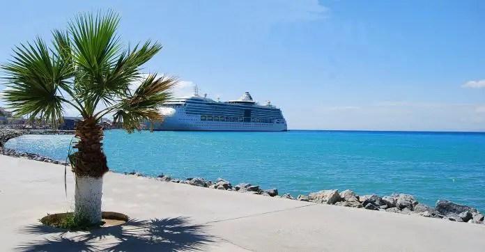 Blick von der Hafenpromenade auf ein Kreuzfahrtschiff im Hafen von Kusadasi. Davor ist eine kleine Palme zu sehen.