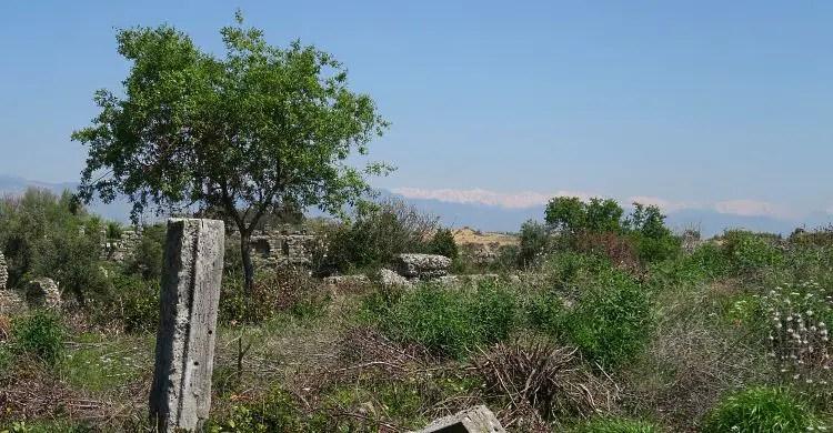 Die Natur eroberte die Ruinen von Side zurück: Gras wächst zwischen den alten Steinen und im Hintergrund ist Schnee auf den Bergen des Taurusgebirges zu sehen.