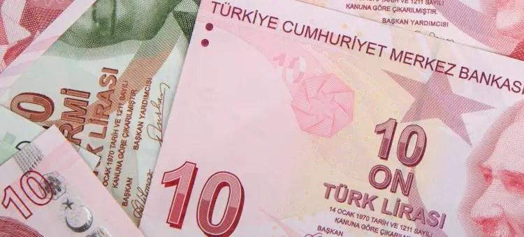 Türkische Lira Banknoten, mit 10 Lira Scheinen.