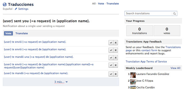 Traductor Facebook