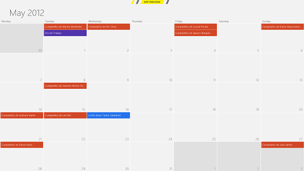 Calendario de Windows 8