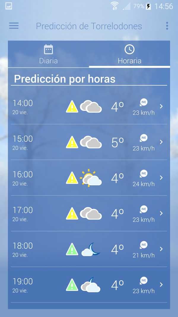 AEMET prevision horas movil