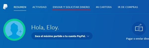 PayPal enviar dinero