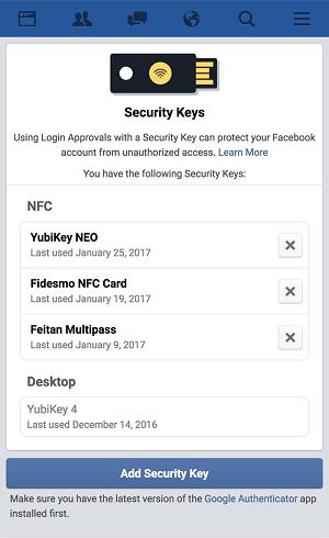 doble autenticación facebook llave