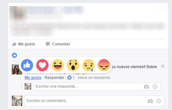 facebook reacciones comentarios