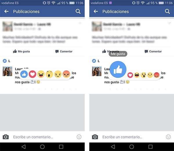 reacciones comentarios facebook app