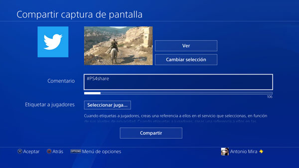 boton share ps4 compartir twitter