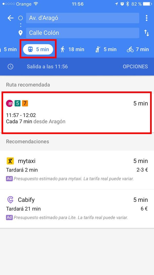 trucos google maps transporte publico
