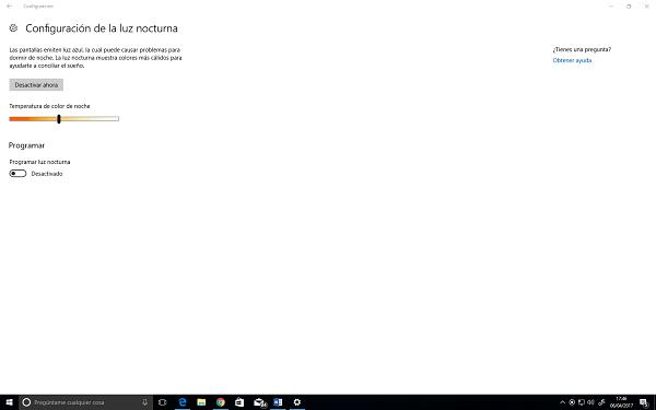 Modo Noche Windows 10