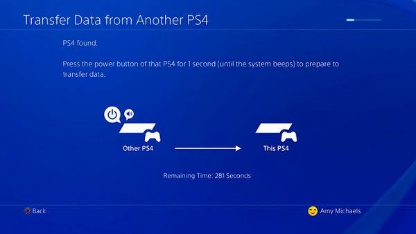 transferir datos(info) ps4 boton pulsado