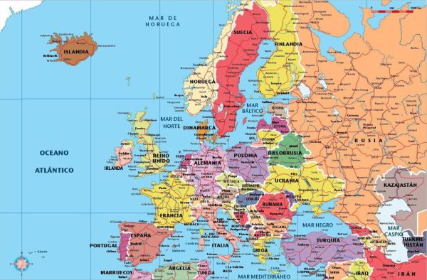 Mapa de Europa político con carreteras