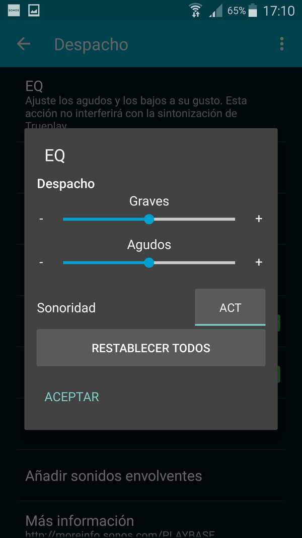 Sonos Playbase captura pantalla App