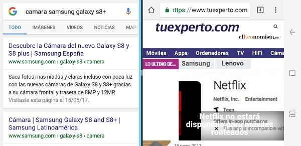 Multiventana en el Samsung Galaxy S8