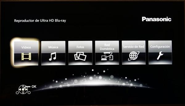 prueba Panasonic℗ DMP-UB700 menu principal