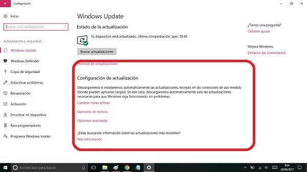 configuracion actualizacion windows 10