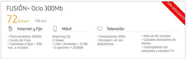 tarifas fibra trescientos con Movistar, Vodafone y Orange fusion plus ocio