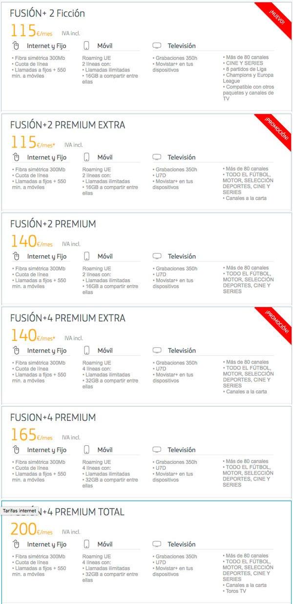 tarifas fibra trescientos con Movistar, Vodafone y Orange fusion+ 02 diversas