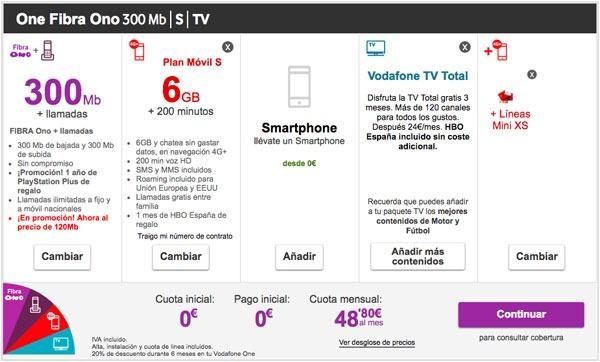 tarifas fibra trescientos con Movistar, Vodafone y Orange one de vodafone basica