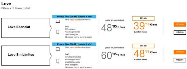tarifas fibra trescientos con Movistar, Vodafone y Orange one de love con una linea