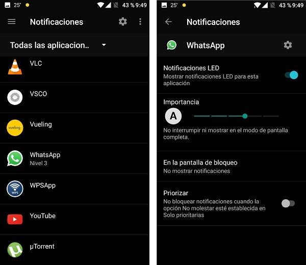 Ajustar el tipo de notificaciones para cada aplicación