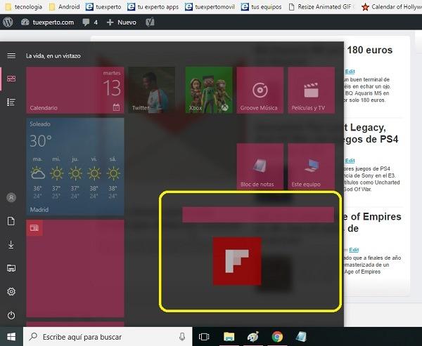 nueva sección menu comienzo windows 10