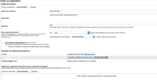 Google Calendar eventos