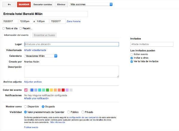 Google Calendar crear evento