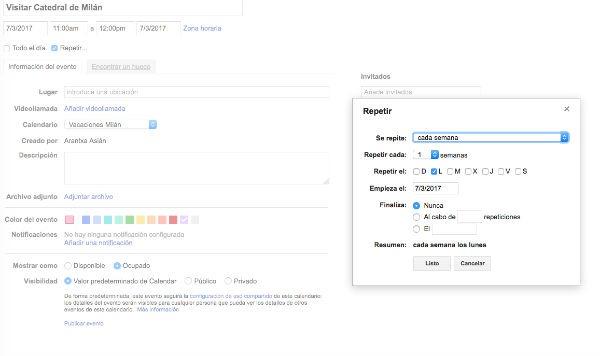 Google calendar programar eventos