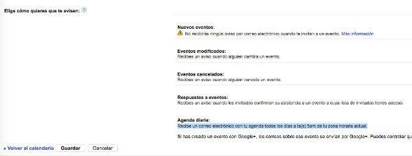 Agenda diaria Google™ Calendar