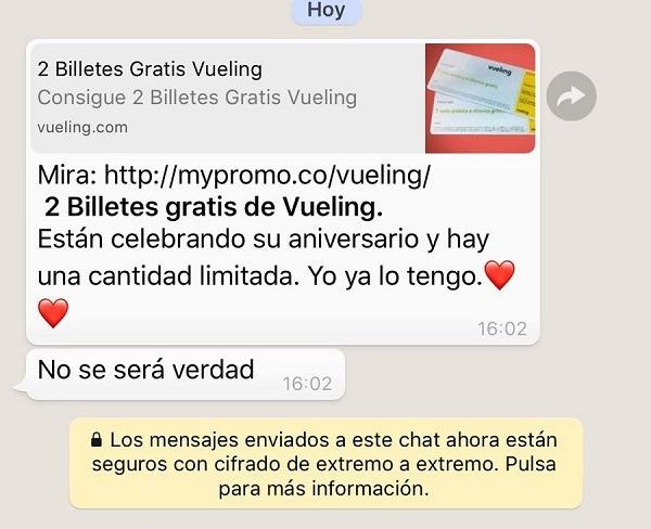 Mensajes y cadenas falsas por WhatsApp