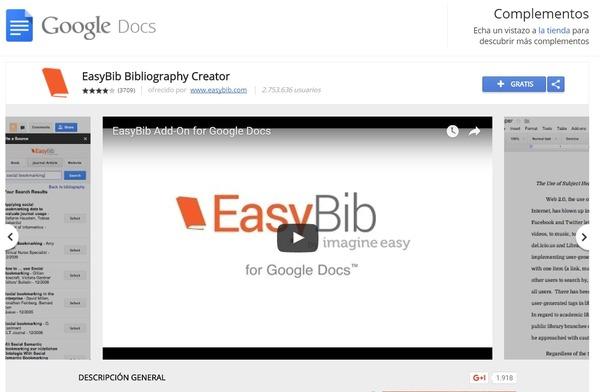 GoogleDocs ext EasyBib