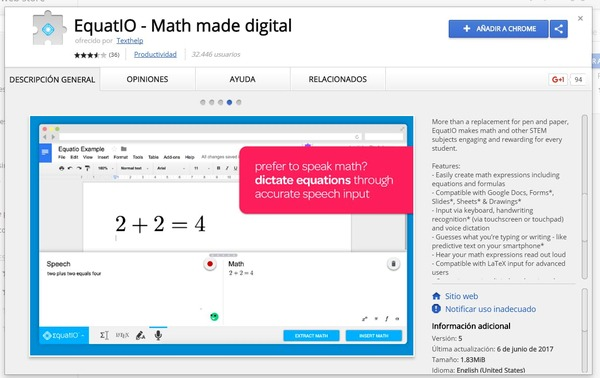 GoogleDocs ext Equatio